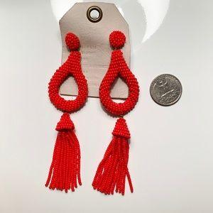 Anthropologie Beaded Tassel Earrings Red